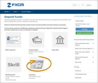 FXCM - Deposit with Union Pay